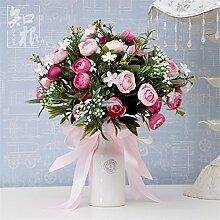Hochzeit Dekoration DIY Home Garten Künstliche Blumen?Hohe emulation Händen Blumen, Bräute, Esstisch mit Blumen, 30*25cm, Blumen (Blumen + Flasche)