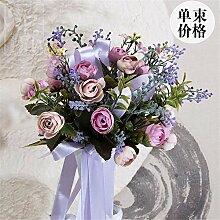 Hochzeit Dekoration DIY Home Garten Künstliche Blumen?Hohe emulation Händen Blumen Bräute, Esstisch mit den üblichen zongzi 30*25cm, verbringen, Violett