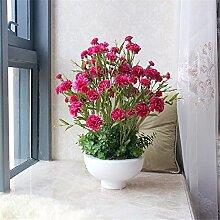 Hochzeit Dekoration DIY Home Garten Künstliche Blumen?Nelke Blume-Emulation, die rote und die weiße Schüssel