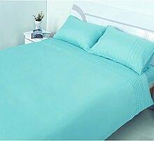 Hometexstyle BettwäSche-Set für Doppelbett, King Size, Inkl. Spannbetttuch, Tropen-Design, Polyester, Mint ( Blue Green ), Kingsize Bettbezug