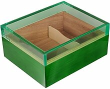 Humidor Pianolack Acrylglas Premiumbefeuchtung green inkl. Lifestyle-Ambiente Tastingbogen