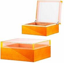 Humidor Pianolack Acrylglas Premiumbefeuchtung orange inkl. Lifestyle-Ambiente Tastingbogen