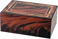 Humidor rotbraun Intarsien-Design für ca. 50 Cigarren H13xB31xT22cm, Befeuchter, Hygrometer, Trennleiste mit herausnehmbarem Zwischenboden