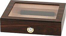 HUMIDOR Walnut Finish Glasdeckel für ca. 20 Cigarren mit Hygrometer und Humidifer