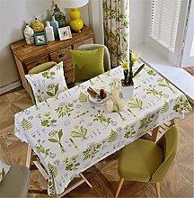 HXC Home beige Blatt Tischdecken Tischtuch Baumwolle leinen Amerikanisch Esstisch Rezeption rechteckigen Quadrat Nicht bügeln umweltfreundlich Garten