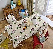 HXC Home beige Blumenmuster Geblümt frisch Tischdecken Tischtuch Baumwolle leinen Amerikanisch Esstisch Rezeption rechteckigen Quadrat Nicht bügeln umweltfreundlich Garten