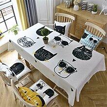 HXC Home beige cool Kätzchen Karton frisch Tischdecken Tischtuch Baumwolle leinen Amerikanisch Esstisch Rezeption rechteckigen Quadrat Nicht bügeln umweltfreundlich Garten