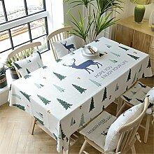HXC Home beige Elch Forst Tischdecken Tischtuch Baumwolle leinen Skandinavisch Esstisch Rezeption rechteckigen Quadrat Nicht bügeln umweltfreundlich Garten