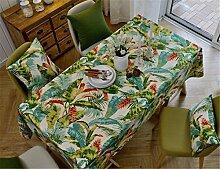 HXC Home beige Grün Blatt Tischdecken Tischtuch Baumwolle leinen Amerikanisch Esstisch Rezeption rechteckigen Quadrat Nicht bügeln umweltfreundlich Garten