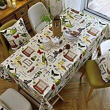 HXC Home beige Vogel retro Tischdecken Tischtuch Baumwolle leinen Amerikanisch Esstisch Rezeption rechteckigen Quadrat Nicht bügeln umweltfreundlich Garten