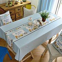 HXC Home blau Tier Karton frisch Tischdecken Tischtuch Baumwolle leinen Amerikanisch Esstisch Rezeption rechteckigen Quadrat Nicht bügeln umweltfreundlich Garten