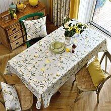 HXC Home Blumenmuster Geblümt frisch Tischdecken Tischtuch Baumwolle leinen Amerikanisch Esstisch Rezeption rechteckigen Quadrat Nicht bügeln umweltfreundlich Garten