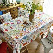 HXC Home Gekritzel Vogel Karton frisch Tischdecken Tischtuch Baumwolle leinen Amerikanisch Esstisch Rezeption rechteckigen Quadrat Nicht bügeln umweltfreundlich Garten
