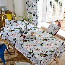 HXC Home hell blau Blumenmuster Geblümt frisch Tischdecken Tischtuch Baumwolle leinen Amerikanisch Esstisch Rezeption rechteckigen Quadrat Nicht bügeln umweltfreundlich Garten
