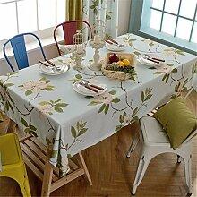 HXC Home hell blau Geblümt Blumenmuster Tischdecken Tischtuch Baumwolle leinen Französisch Esstisch Rezeption rechteckigen Quadrat Nicht bügeln umweltfreundlich Garten