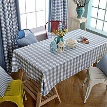 HXC Home hell blau Kariert Rastermuster Tischdecken Tischtuch Baumwolle leinen Amerikanisch Esstisch Rezeption rechteckigen Quadrat Nicht bügeln umweltfreundlich Garten
