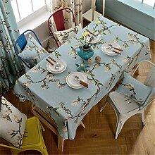 HXC Home hell blau Magnolie Blumenmuster Geblümt Tischdecken Tischtuch Baumwolle leinen Amerikanisch Esstisch Rezeption rechteckigen Quadrat Nicht bügeln umweltfreundlich Garten