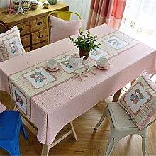 HXC Home rosa Kariert Rastermuster Karton frisch Tischdecken Tischtuch Baumwolle leinen Amerikanisch Esstisch Rezeption rechteckigen Quadrat Nicht bügeln umweltfreundlich Garten