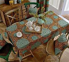 HXC Home Türkis orange Kreis Tischdecken Tischtuch Baumwolle leinen moderne Minimalistischen Esstisch Rezeption rechteckigen Quadrat Nicht bügeln umweltfreundlich Garten