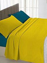 Italienische Bettwäsche Bedding Leinen Doppel ockerfarbenen/Blau 250x 300cm