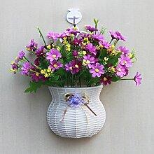 jhxena Garten Stil an der Wand hängenden Blumenkörben gemischte Blumen aus Kunststoff lila Daisy