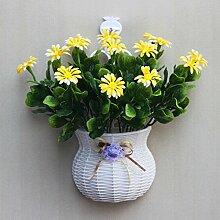 jhxena Garten Stil an der Wand hängenden Blumenkörben gemischte Blumen aus Kunststoff gelb Gänseblümchen