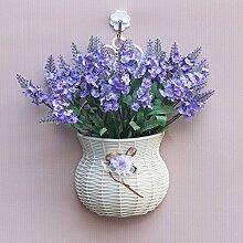 jhxena Garten Stil an der Wand hängenden Blumenkörben gemischte Blumen aus Kunststoff Licht purple orchid Gras