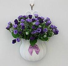 jhxena Garten Stil an der Wand hängenden Blumenkörben gemischte Blumen aus Kunststoff blau Rose