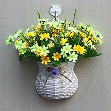 jhxena Garten Stil an der Wand hängenden Blumenkörben gemischte Blumen aus Kunststoff gelb Daisy