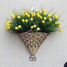 jhxena Garten Stil an der Wand hängenden Blumenkörben kit yellow Diamant Rose