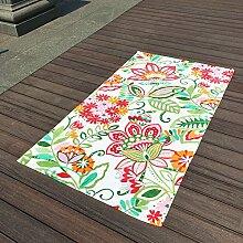 Jhxena Garten Stil Baumwolle Strandtuch Urlaub Am Meer Schal Strand Decke, Blumen