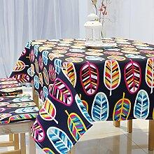 Jhxena Garten Stil Tischdecke Verdicken Baumwolle Und Leinen Rechteckige Cafe Table Cover Tuch, Schwarz, 140 * 140 Cm