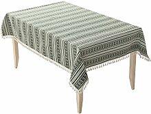 Jhxena Garten Stil Tischdecke Verdicken Quaste Rechteckigen Tisch Decken Tuch, Grün, 140 * 220 Cm