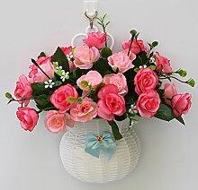 jhxena Garten Stil Wandbehang Kunststoff Blumenkörbe gemischte Blumen Rosen