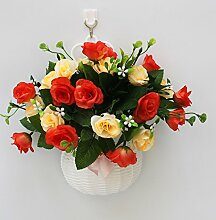 jhxena Garten Stil Wandbehang Kunststoff Blumenkörbe gemischte Blumen rote Rose