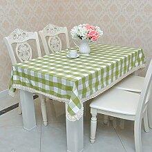 Jhxena Grid Tischdecken Garten Stil Rechteckige Baumwolle Esstisch Tuch, Grün 130 * 130 Cm