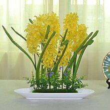jhxena Jhxena künstliche Blume Garten Stil Kunststoff florale Kunst Hyazinthen Gelb