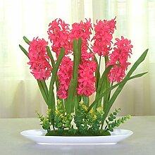 jhxena Jhxena künstliche Blume Garten Stil Kunststoff florale Kunst Hyazinthen Rot