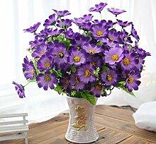 jhxena Künstliche Blume kit Garten Stil gefälschte Blumentisch Dekor florale Kunst lila Daisy