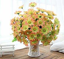 jhxena Künstliche Blume kit Garten Stil gefälschte Blumentisch Dekor florale Kunst gelb Gänseblümchen