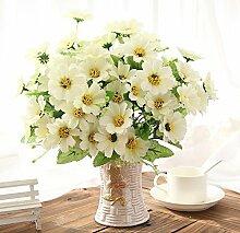jhxena Künstliche Blume kit Garten Stil gefälschte Blumentisch Dekor florale Kunst weißen Gänseblümchen