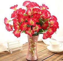 jhxena Künstliche Blume kit Garten Stil gefälschte Blumentisch Dekor florale Kunst Rot horn Blume