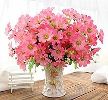 jhxena Künstliche Blume kit Garten Stil gefälschte Blumentisch Dekor florale Kunst pink Daisy