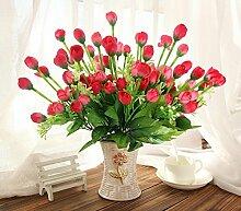 jhxena Künstliche Blume kit Garten Stil gefälschte Blumentisch Dekor florale Kunst rote Rose