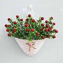 jhxena Künstliche Blumen Garten Stil an der Wand kit florale Kunst rote Frucht