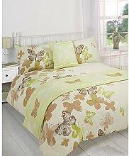 Just Contempo Bettwäsche-Set für Mädchen, 5-teilig, Schmetterlingsmotiv, Kingsize Bettbezug, Pistaziengrün (Braun / cremefarben / Gelb)
