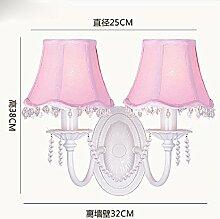 KHSKX Amerikanische Garten Kristall-Kronleuchter, kreative einfaches Mädchen Prinzessin rosa Kronleuchter, Kinder Schlafzimmer warm Schlafzimmer Lampe,Doppel-Kopf