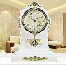 KHSKX Europäisch anmutenden Uhr kreative Garten Uhren Mode große Stille Quarz Uhr Wohnzimmertisch Europäische antike schwingenden Uhr white
