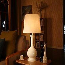 KHSKX Europäischen Garten Tischlampe, Nachttischlampe Schlafzimmer Wohnzimmer,Drucktaster