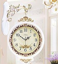 KHSKX Kreative Königin retro garten kunst clock clock clock clock, doppelseitig